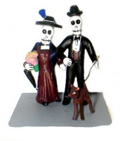 Skeletal Dog Walkers Day of the Dead