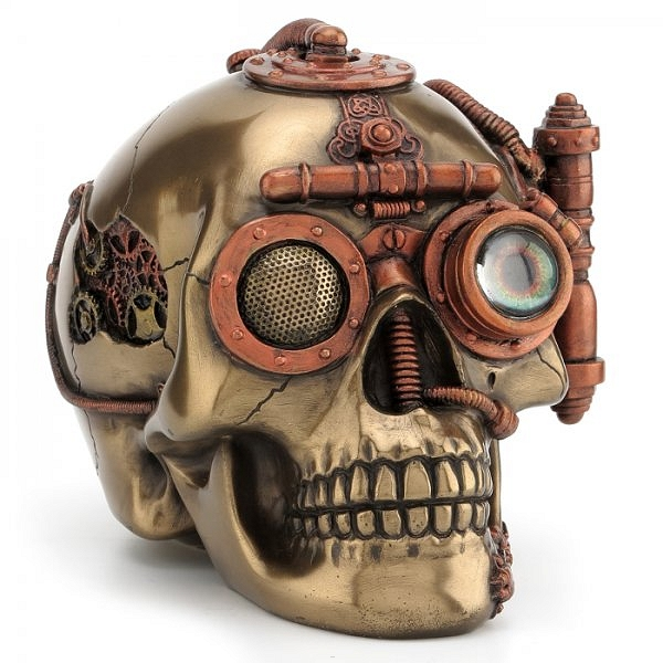 5-22-WU76568A4 Steampunk Skull with Secret Drawer Trinket Box