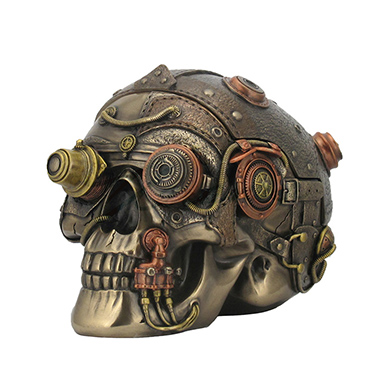 WU76558A4 Steampunk Skull With Leather Texture Trinket Box